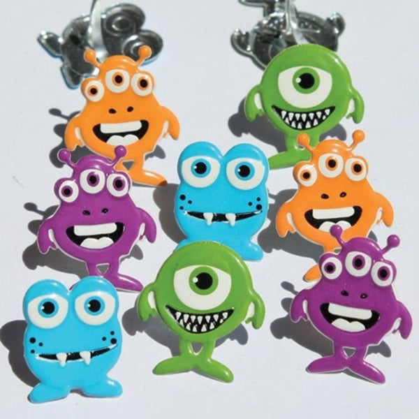 Eyelet Outlet Shape Brads 12/Pkg - Monsters | Craftastic Cabin Inc