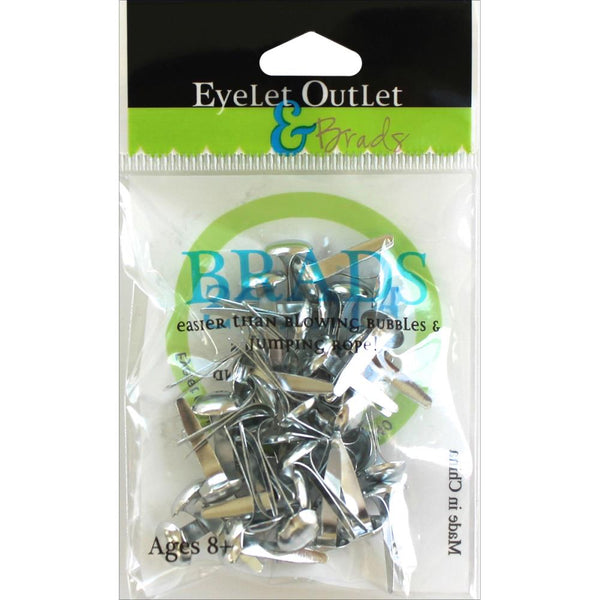 Eyelet Outlet Round Brads 8mm 40/Pkg - Silver - Craftastic Cabin Inc