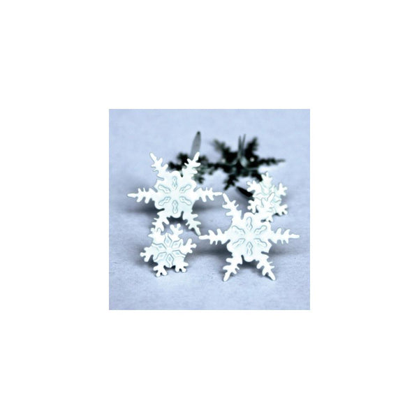 Eyelet Outlet Shape Brads 12/Pkg - Snowflakes | Craftastic Cabin Inc