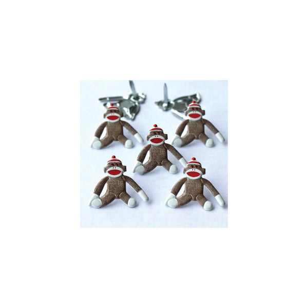 Eyelet Outlet Shape Brads 12/Pkg - Sock Monkeys | Craftastic Cabin Inc