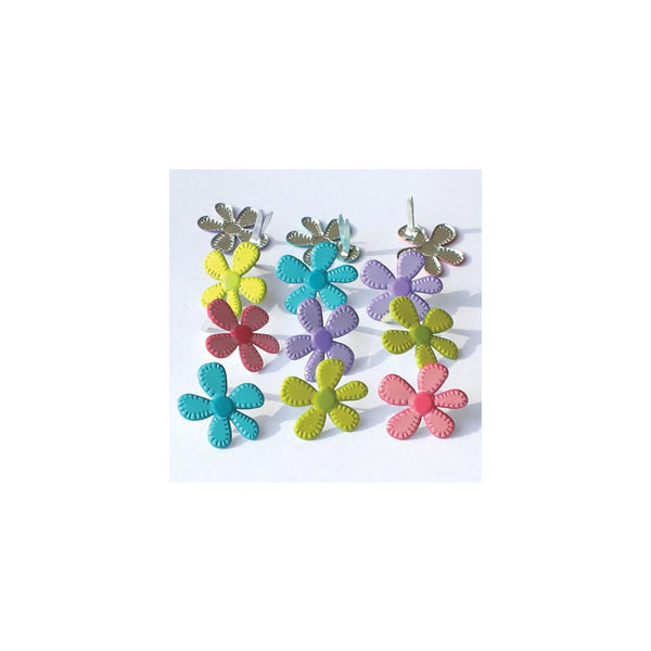 Eyelet Outlet Shape Brads 12/Pkg - Stitched Flowers - Bright | Craftastic Cabin Inc