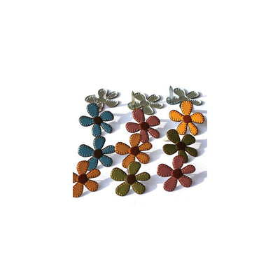 Shape Brads 12/Pkg Stitched Flowers Fall