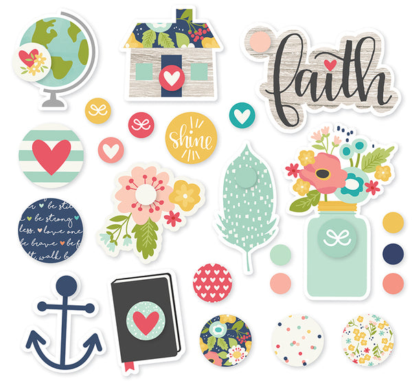 Simple Stories Collection Faith Decorative Brads Carpe Diem | Craftastic Cabin Inc