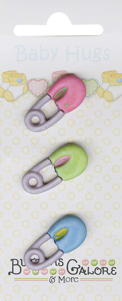 Buttons Galore Baby Hugs DIAPER PINS Buttons | Craftastic Cabin Inc