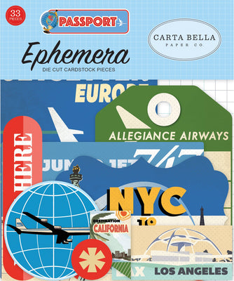 Carta Bella Passport Ephemera 33 diecuts