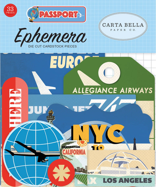Carta Bella Collection Passport Ephemera 33 diecuts - Craftastic Cabin Inc