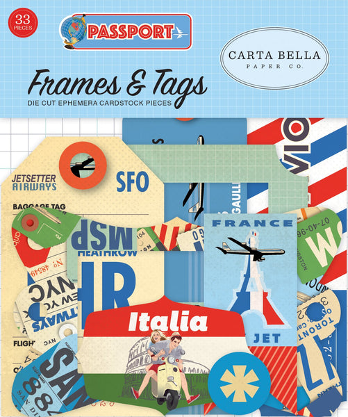 Carta Bella Collection Passport & FRAMES Ephemera 33 shapes | Craftastic Cabin Inc