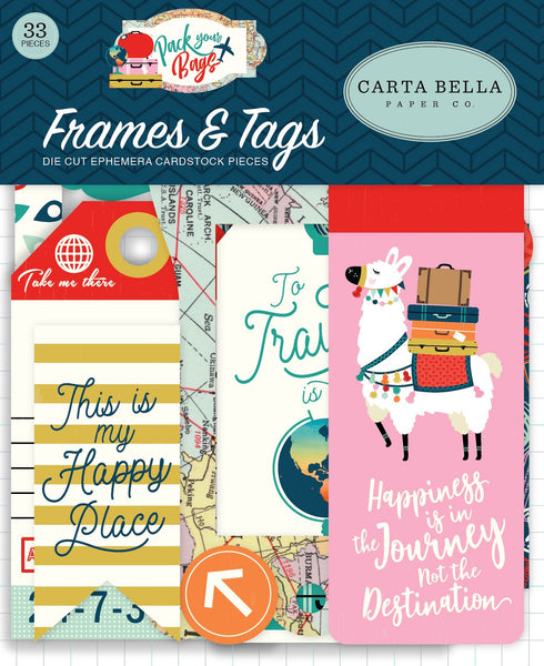 Carta Bella Collection Pack Your Bags Frames & Tags Ephemera 33 shapes - Craftastic Cabin Inc