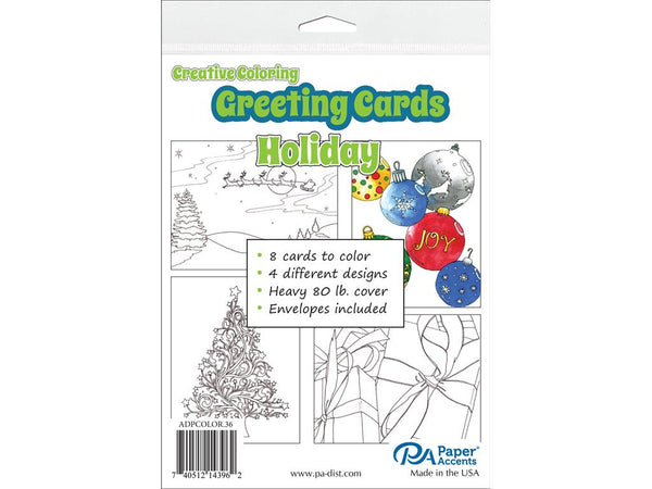 Paper Accents Creative Coloring HOLIDAY Cards & Envelopes 4.25