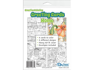 "Creative Coloring HOME Cards & Envelopes 4.25""x5.5"" 8pc"