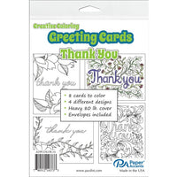 "Creative Coloring THANK YOU Cards & Envelopes 4.25""x5.5"" 8pc"