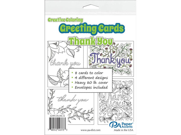 Paper Accents Creative Coloring THANK YOU Cards & Envelopes 4.25