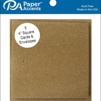 "Paper Accents BROWN BAG Cards & Envelopes 4""x4"" 5pc"