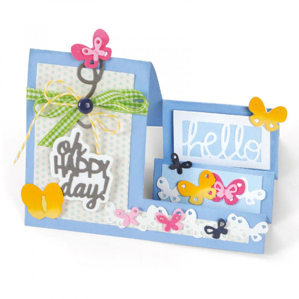 Sizzix Dies Stephanie Barnard Framelits Card Oh Happy Day Mini Step-Ups | Craftastic Cabin Inc
