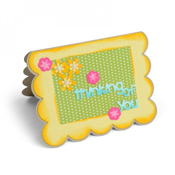 Sizzix Dies Stephanie Barnard Framelits Card Scallop With Flowers & Sentiment Drop Ins - Craftastic Cabin Inc