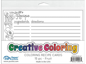 "Paper Accents Creative Coloring Recipe Cards 4""x6"" 15pk FRUIT 