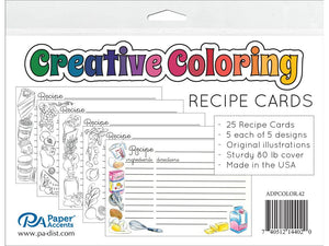 "Paper Accents Creative Coloring Recipe Cards 4""x6"" 25pc packs"