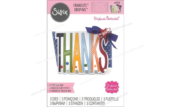 Sizzix Dies Stephanie Barnard Framelits Drop-In Mini Thanks 662258 - Craftastic Cabin Inc