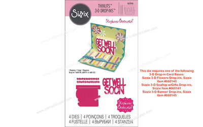 Sizzix Dies Stephanie Barnard Thinlits 3D Drop-ins Get Well 661846