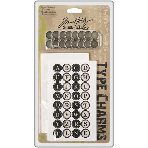 Tim Holtz Idea-ology Typewriter Keys Alphabet Charms - 16pc | Craftastic Cabin Inc