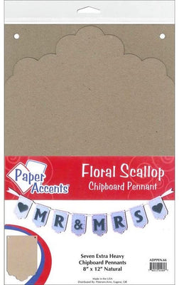 Paper Accents Chipboard Pennants Floral Scallop 8
