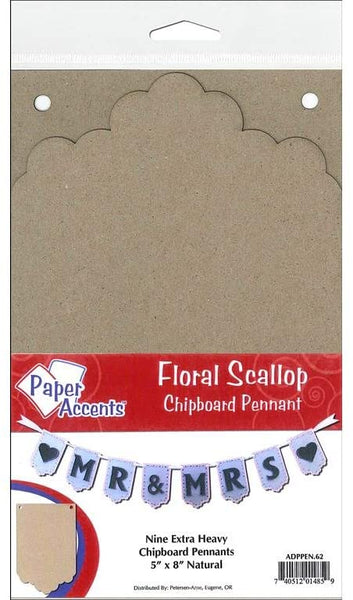 Paper Accents Chipboard Pennants Floral Scallop 5
