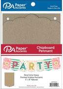 "Paper Accents Chipboard Pennants Pointed Scallop 5""x 8"" 9pc Natural"