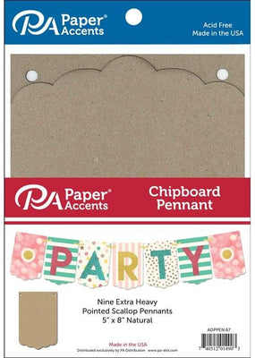 Paper Accents Chipboard Pennants Pointed Scallop 5