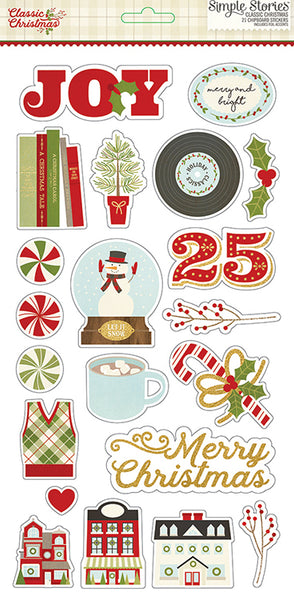 Simple Stories Collection Classic Christmas Sticker Chipboard 6