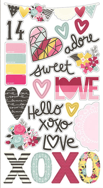 Simple Stories Collection Love & Adore Chipboard Stickers 6