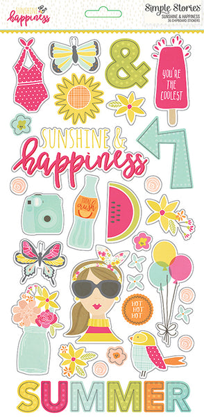 Simple Stories Collection Sunshine & Happiness Sticker Chipboard 6