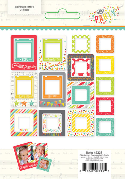 Simple Stories Collection Lets Party Chipboard Frames - Craftastic Cabin Inc