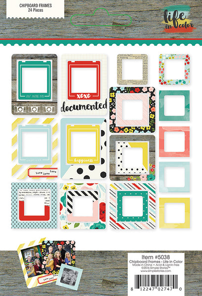Simple Stories Collection Life In Color Chipboard Frames - Craftastic Cabin Inc