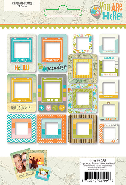 Simple Stories Collection You Are Here Chipboard Frames | Craftastic Cabin Inc