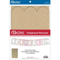 "Paper Accents Chipboard Pennants Rectangle Scallop 8""x 12"" Natural 7pc"