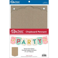"Paper Accents Chipboard Pennants Pointed Scallop 8""x 12"" 7pc Natural"