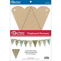 "Paper Accents Chipboard Pennants Scallop Top 8""x 12"" Natural 7pc"