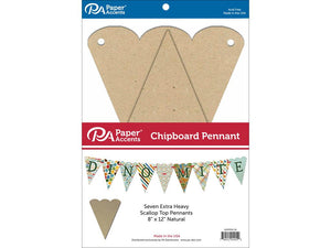 "Paper Accents Chipboard Pennants Scallop Top 8""x 12"" Natural 7pc - Craftastic Cabin Inc"