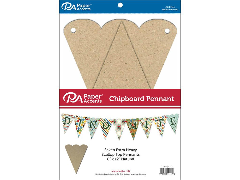 Paper Accents Chipboard Pennants Scallop Top 8