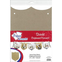 "Paper Accents Chipboard Pennants Shield 8""x 10.5"" Natural 7pc"