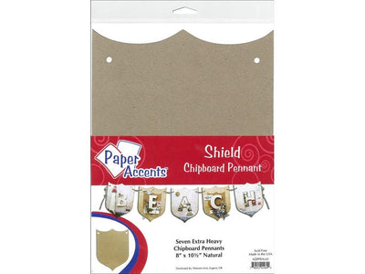 Paper Accents Chipboard Pennants Shield 8