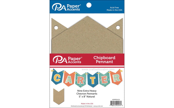 Paper Accents Chipboard Pennants Chevron 5x8