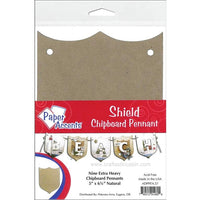 Paper Accents Chipboard Pennants Shield Point 5x6.5 Natural 9pc