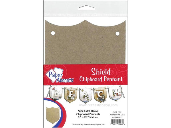 Paper Accents Chipboard Pennants Shield Point 5x6.5 Natural 9pc - Craftastic Cabin Inc