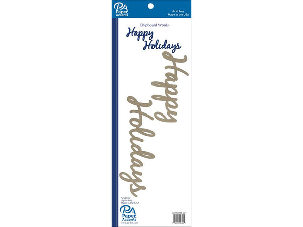 Paper Accents Chip Shape Word Happy Holidays Natural - Craftastic Cabin Inc