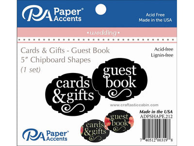 Paper Accents Chip Shape Wedding Guest Book/Cards & Gifts Black 1 Set