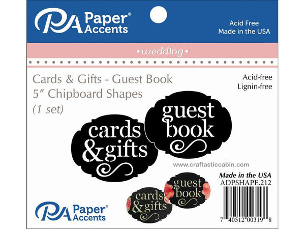 Paper Accents Chip Shape Wedding Guest Book/Cards & Gifts Black 1 Set | Craftastic Cabin Inc