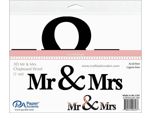 Paper Accents Chip Shape Word Wedding Mr & Mrs Black 1Set | Craftastic Cabin Inc