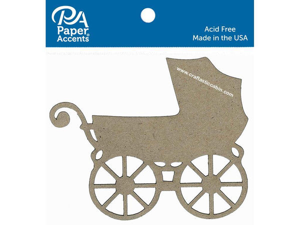 Paper Accents Chip Shape Baby Carriage Natural 4pc | Craftastic Cabin Inc