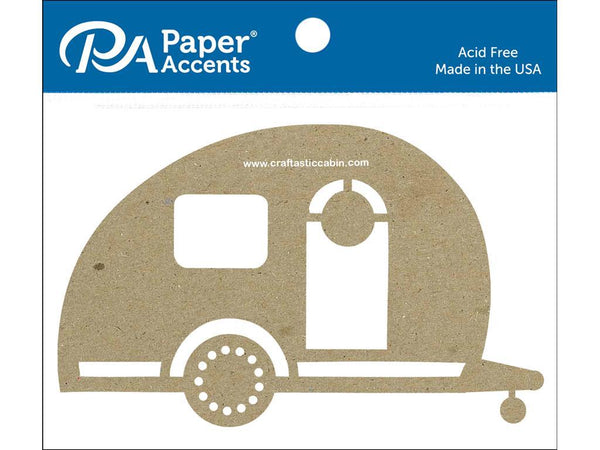 Paper Accents Chip Shape Camper Natural 4pc | Craftastic Cabin Inc